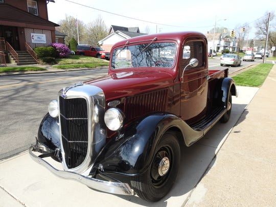 "A beloved 1936 Ford pick-up truck owned by Richard ""Dick"" Brown was parked outside Grace United Methodist Church during his funeral on Friday."