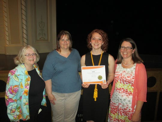 The P.E.O. Star Scholarship was recently presented to Alyssa Barker, a senior at Manitowoc Lincoln High School. Pictured from left: Lisa Bruére, Jennifer Balma, Barker and Karin Strazny.