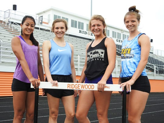 The Ridgewood 400 relay (from left to right), Grace Gottwalt, Raquel Foster, Abbey Kellish and Alexis Prater, will compete in the Division III state track meet on Friday and Saturday. They won the regional title last week.