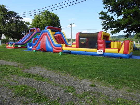Bounce houses for kids were one of the attractions