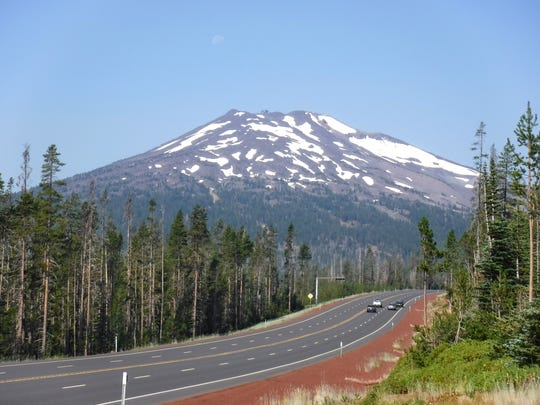 A view of Mt. Bachelor from Cascade Lakes Highway.