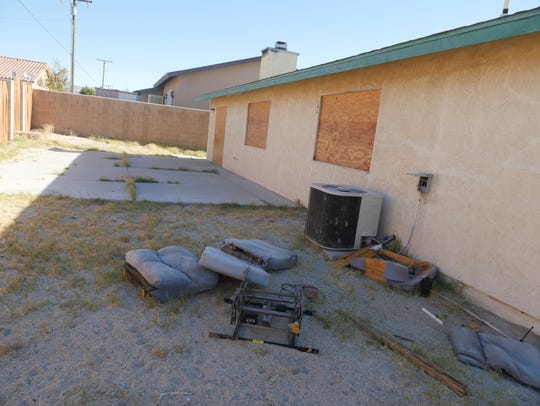 The back yard of a Desert Hot Springs home was eventually