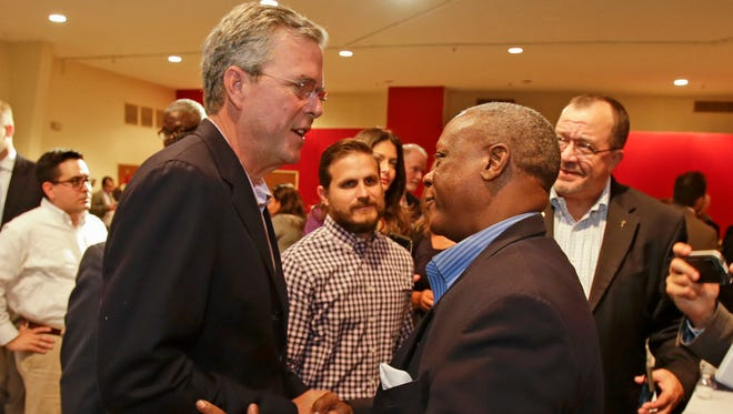 Republican presidential candidate, former Florida Gov. Jeb Bush, greets supporters at a Central Florida pastors meet and greet, Monday, July 27, 2015, in Orlando, Fla. (AP Photo/John Raoux)