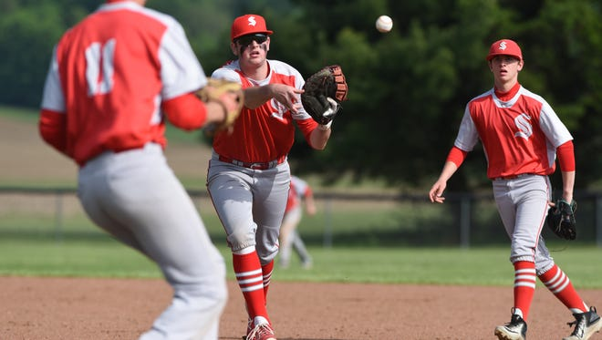 Sheridan firstbaseman Luke Hanson tosses to pitcher Dylan Dupler (11) during the General's win over Perry County rival New Lexington in the Division II sectionals on Thursday.