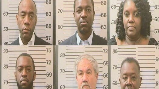 The NAACP released these mugshots of organization president Cornell Brooks, upper left, and five others arrested Tuesday night at the Mobile, Ala., office of U.S. Sen. Jeff Sessions, R-Ala.