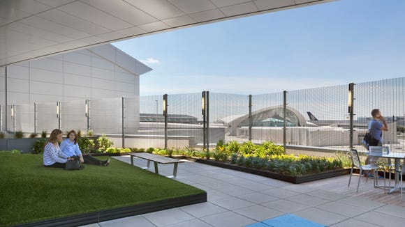 A rendering shows JetBlue's new T5 rooftop lounge at