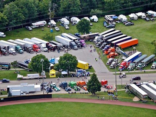 An aerial photo of the annual Waupun Truck-n-Show.