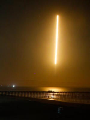 A SpaceX rocket launches early Wednesday from Vandenberg Air Force Base in California, carrying 10 satellites for Iridium Communications into orbit. It was the seventh launch in Iridium's $3 billion campaign to replace its entire fleet of globe-circling satellites and brought the number in orbit to 65. One more launch will increase the number to 75.