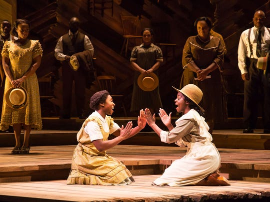 "Cynthia Erivo (left) and Joaquina Kalukango in a scene from Broadway's ""The Color Purple."""