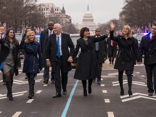 Vice President of the United States Mike Pence walks with his family in the Inaugural Parade on Pennsylvania Avenue, Washington D.C., Saturday, Jan. 20, 2017.