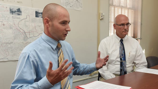 Brady Ratzlaff, Independent candidate for Ross County Sheriff, left, announced he would make Greg McKeever his chief deputy if he were elected Thursday at the Chillicothe Gazette office.