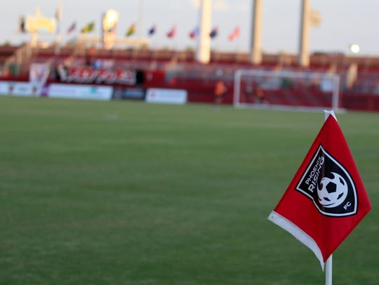 The corner flag blows in the wind before Phoenix Rising's