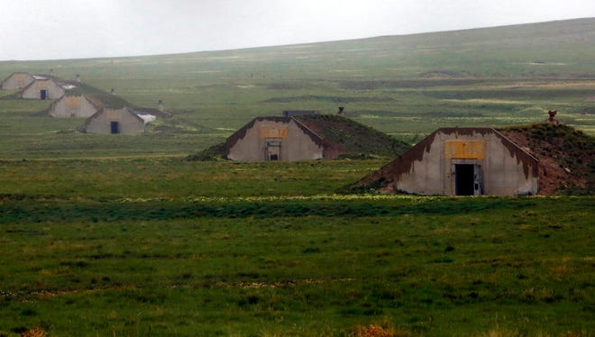 Vivos, a company owned by Robert Vicino, a California entrepreneur, has the rights to lease 575 of these concrete bunkers in Igloo outside of Edgemont, S.D. People from across the country were in Igloo on Friday, May 19, 2017, looking at the bunkers as end of the world shelters.(Chris Huber /Rapid City Journal via AP)