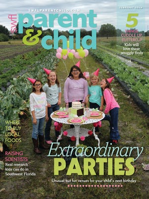 On the cover of the February issue of SWFL Parent & Child: From left, Hannah Craddock, 10, Kasey Hayward, 9, Kendal Nourse, 11, Katrina Ludwig, 7, EllaRose Kay Sherman, 9, all members of Girl Scout Troop 128.