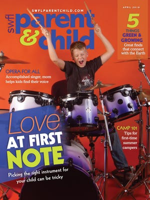 Ryan Holter, 8, of Estero, takes drum lessons at the Florida Institute of Music in Bonita Springs. Drums courtesy of Florida Institute of Music.