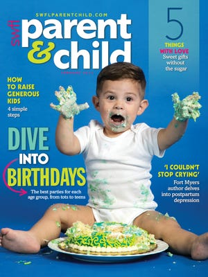 Matteo Higuera, 15 months, tears into a birthday smash cake for the cover of the February 2017 issue of SWFL Parent & Child magazine.