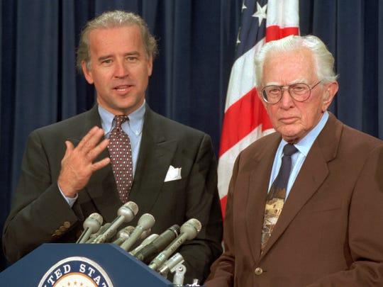 Then-senators Joe Biden, D-Del., who chaired the Senate