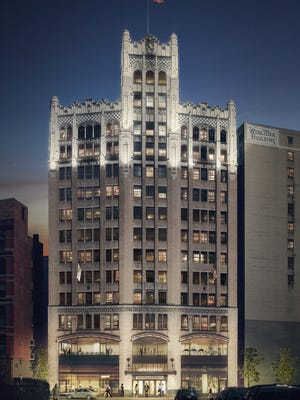 Architectural rendering shows the Metropolitan Building in downtown Detroit remade as an Element Hotel.