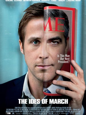 """A poster for """"The Ides of March,"""" staring Ryan Gosling and George Clooney."""
