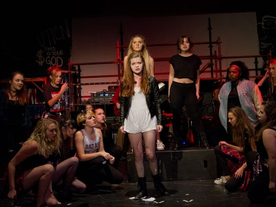 """The cast of """"American Idiot"""" during rehearsals for the upcoming production at D'Alto Studio Theater."""