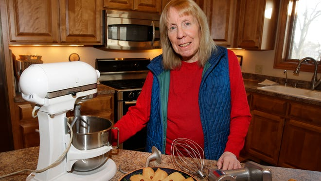 Nancy Wojcicki still uses her inherited 1965 KitchenAid mixer, most recently for her caramel bars, a family holiday recipe.