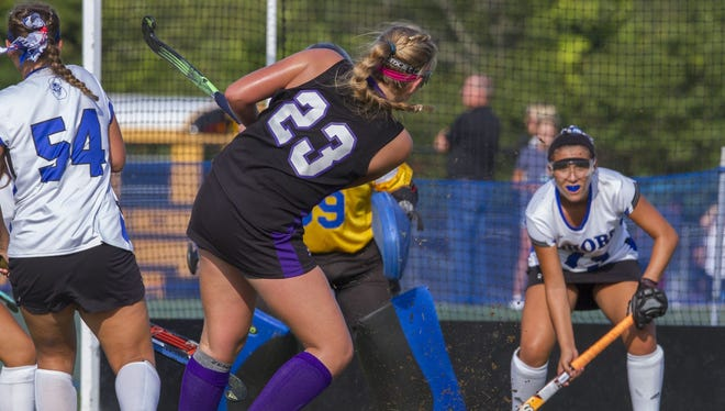 Rumson-Fair Haven's Lily Croddick takes a shot against Shore on Sep. 8, 2016