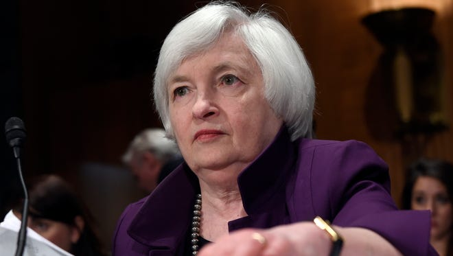Federal Reserve Chair Janet Yellen prepares to testify before the Senate Banking Committee on Capitol Hill in Washington.