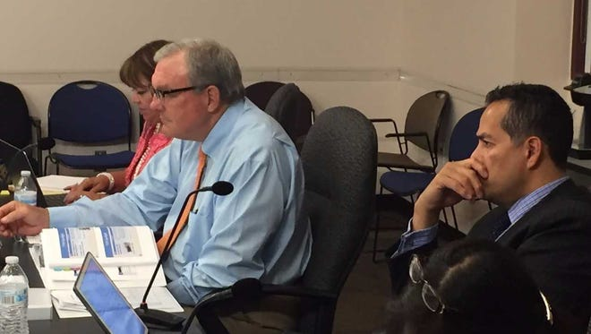 From left, City Attorney Sylvia Borunda Firth, Mayor Dee Margo and City Manager Tommy Gonzalez take part in a city budget workshop.