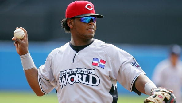 Juan Francisco of the Cincinnati Reds playing for the World Futures Team takes fielding practice before the 2008 XM All-Star Futures Game at Yankee Stadium on July 13, 2008, in the Bronx borough of New York City.