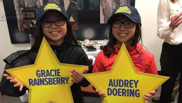 Reunited at last, Gracie and Audrey pose for pictures after their appearance on Good Morning America.