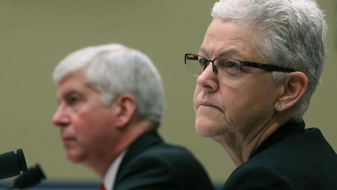 Gina McCarthy appears with then-Gov. Rick Snyder at a House Oversight and Government Reform Committee hearing about Flint's water crisis.