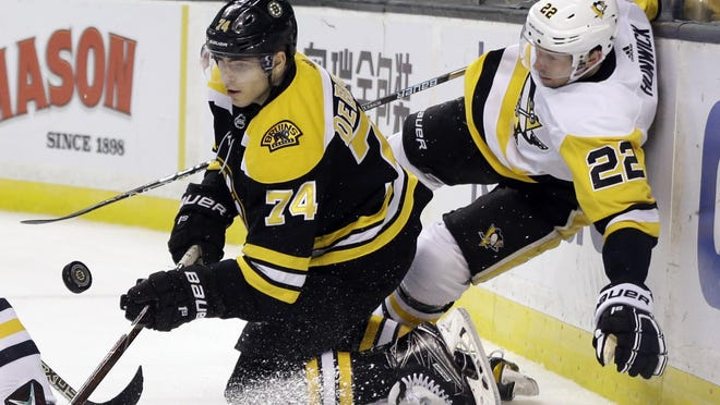 Winger Jake DeBrusk (74) knows he's at his best when he limits off-ice distractions, and is looking forward to playing at top form once the NHL season resumes.