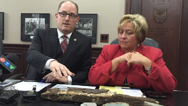 Windsor Mayor Drew Dilkens and Chief Administrative Officer Helga Reidel discuss the concrete chunks that fell from the Ambassador Bridge.