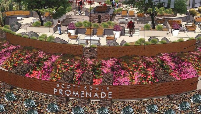 Scottsdale Promenade, one of Scottsdale's best-known shopping centers, could get a fresh look with a dozen new shops and public courtyard with shade canopies, a fireplace and outdoor dining.