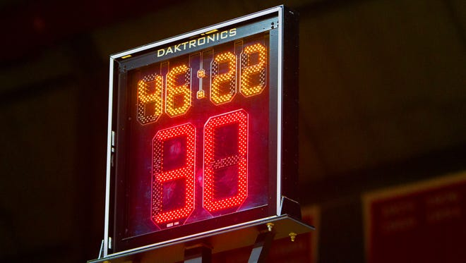 The shot clock at the Louis Brown Athletic Center at Rutgers University.