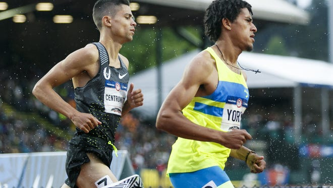 Matthew Centrowitz tails behind Izaic Yorks in the first round of the men's 1500 meter race at the 2016 U.S. Olympic Track and Field Trials at Hayward Field in Eugene, Ore., on Thursday, July 7, 2016.