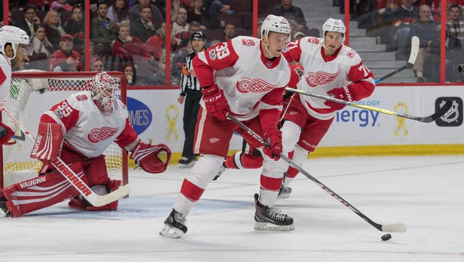 Red Wings forward Anthony Mantha will be expected to play in front of the net more while spending time on Henrik Zetterberg's line.