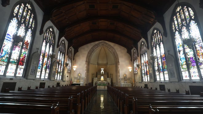 Light streams into the windows of the chapel at Marygrove College. President Elizabeth Burns talks about the future of the college Monday Feb. 5, 2018. Mandi Wright/Detroit Free Press