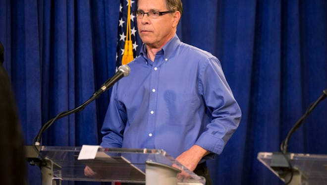 Mike Braun, prior to a debate of Indiana Republican candidates for Senate, at WISH TV, Indianapolis, Sunday, April 15, 2018.