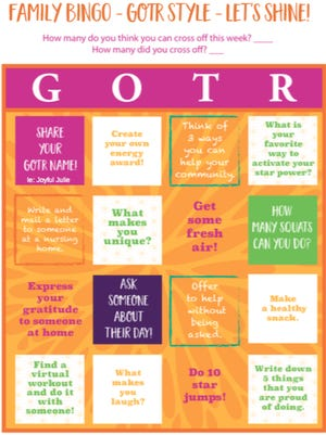 GOTR BINGO encourages children and families to stay active and come up with creative ways to stay fit, stay positive and help their communities.