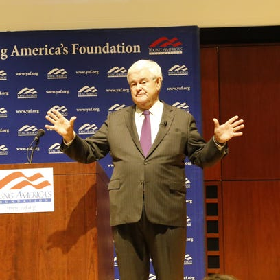Newt Gingrich speaks to the crowd in Call Auditorium