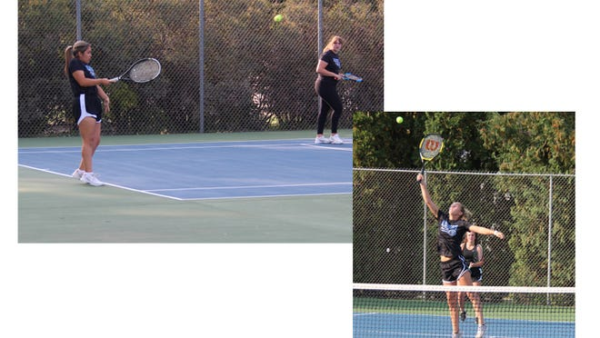 (Left) The #2 doubles team, Erica Lozano (left) and Sydne  Wahl avenged a loss on Sept. 17 to beat their New Ulm opponents at home on Monday, Sept. 21. (Right) Maya Nelson, attacking the net during Monday's match, played at #3 doubles in both wins over New Ulm at that spot. Teammate Presley Dockter is visible behind Nelson.