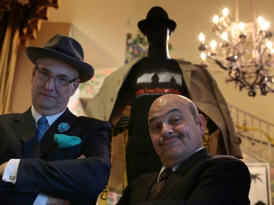 """Actor Jon Polito and Alan Rode, the producer of the Arthur Lyons Film Noir Festival, attend the opening night showing of """"Miller's Crossing"""" during a previous festival at the Camelot Theatres in Palm Springs."""