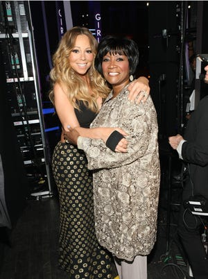 Patti LaBelle and Mariah Carey backstage at Black Girls Rock! Premieres on Nov. 3 at 7 p.m. on BET.