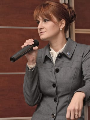 'The Right to Bear Weapons' Public Organization's Board Chairman Maria Butina speaking during the Organization's 2nd Congress in Moscow, Russia.