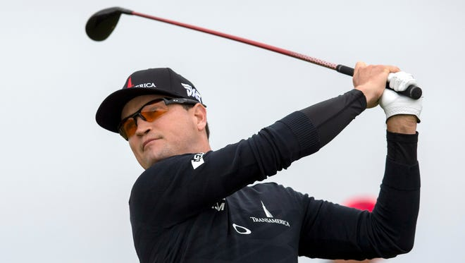 Zach Johnson tees off at the 3rd during the second round of the 145th Open Championship golf tournament at Royal Troon Golf Club - Old Course.