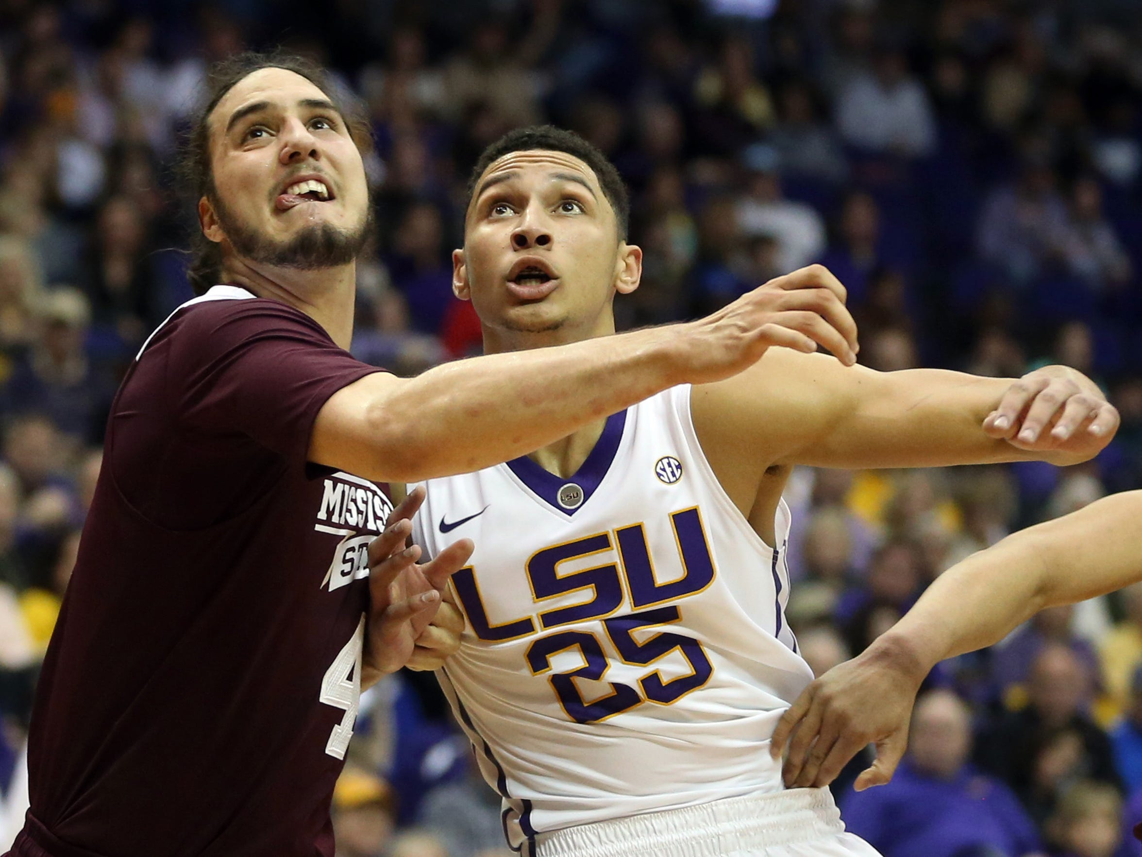Mississippi State forward Johnny Zuppardo, right, is