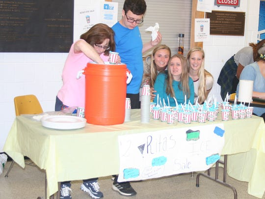 Left to right are: Voorhees staff member Laura Rocca, students William Lyons, Jenna Short, Jillian Hughes, Camilla Olesen