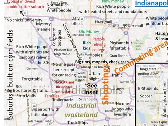 "Ouch: This ""Judgmental Map"" of Indianapolis offers some cutting observations about what makes different areas distinctive."