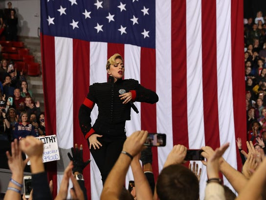 Lady Gaga performs during a campaign rally with Hillary